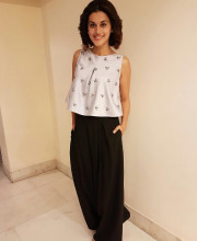 Tapsee Pannu in an outfit by Pranati and Sahib for interviews and an event for the movie Pink