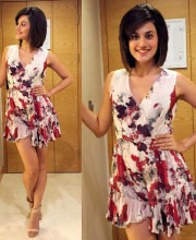 Tapsee Pannu in a floral printed dress from Varun Bahl for the Phoenix market city store visit