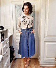 Tapsee Pannu wearing an outfit by Pallavi Kandoi and Bhane for some interviews