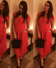 Neha Dhupia wearing Urvashi Kaur for the premier of a movie