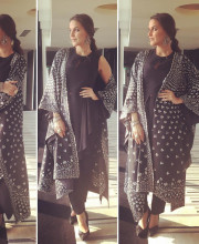 Neha Dhupia wearing AM PM and Sangeeta Boochra jewellery for the promotions of Moh Maya Money