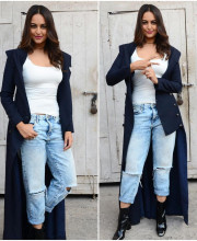 Sonakshi Sinha Wearing a Coat by Rishta by Arjun Saluja