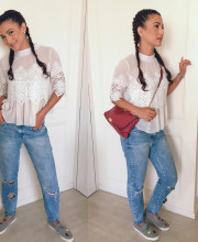 Gauhar Khan in a chic top from the Fancy Pants Store