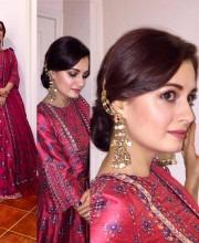 Dia Mirza in an Anita Dongre dress for Diwali