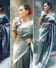 Neha Dhupia in a saree by Anavila Misra and Curio Cottage Jewellery for the promo launch of Moh Maya Money