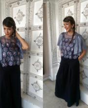 Lakshmi Manchu for interviews wearing a top by Pushpak Vimaan and palazzo pants by Tarun Tahiliani