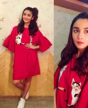 Alia Bhatt wearing a red coloured Pink Porcupines dress