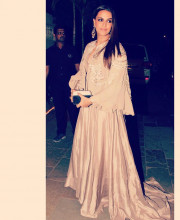 Neha Dhupia in an outfit by Manish Malhotra and Jewellery by Anmol Jewellers
