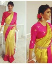 Lakshmi Manchu wearing a gold tissue Kanjeevaram saree by Sailesh Singhania