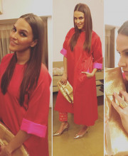Neha Dhupia wearing Raw Mango for Diwali