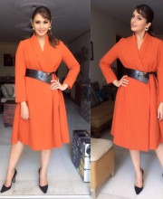 Huma Qureshi in a Trench and Madison on Pedder Dress
