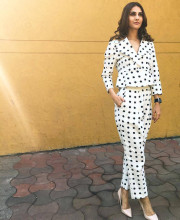 Vaani Kapoor in a Polka dot suit by Ashish Soni