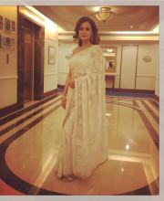 Dia Mirza in a Beautiful White Coloured Chikankari Saree