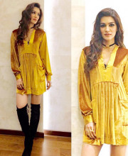 Kriti Sanon dressed up for Manish Malhotra's birthday celebrations in a dress by Free People and jewellery by Aquamarine