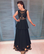 Gauhar Khan in a beautiful outfit by Nikita Mhaisalkar and earrings by House of Shikha