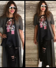 Bipasha Basu in a T-shirt from Rocky S's Nomadic Love Signature Tees collection