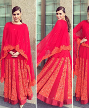Neha Dhupia wearing Jyoti Sachdeva and accessories by Amrapali in Varanasi