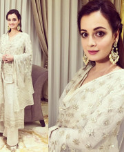 Dia Mirza in an outfit by Tarun Tahiliani and jewellery by Silver Streak Store