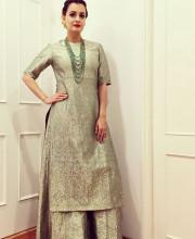 Dia Mirza in a Benarasi Suit by Sanjay Garg for Raw Mango
