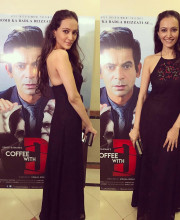 Dipannita Sharma wearing an outfit by Payal Jain for the tailer launch of her movie Coffee with D