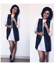 Tapsee Pannu wearing GENES from Lecoanet Hemant during the promotions of her movie Running Shaadi Dot Com