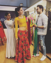 Nargis Fakhri picking an outfit from Mini Sondhi's store with Rajkummar Rao