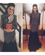 Tapsee Pannu wearing an outfit from Amit GT and Mirari Jewels jewellery for the Ritz Icon Awards 2016