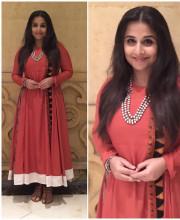 Vidya Balan wearing an outfit by Natasha J, shoes by Aprajita Toor and Amrapali jewellery for the screening of Dangal