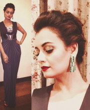 Dia Mirza in an outfit by Amit Aggarwal and jewelry by Renu Oberoi