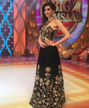 Karishma Tanna dressed in an outfit from Kalki fashion on the Big M Saab show