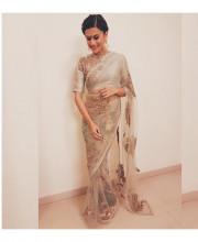 Tapsee Pannu in a saree by Bhumika Sharma and Jaipur Gems jewellery