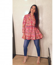 Gauhar Khan in a jacket from Sonali Gupta design to go to the Big Boss House