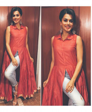 Tapsee Pannu in a stylish Myoho top and earrings from Ritika Sachdeva for a talk at Abbot