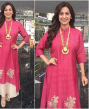 Juhi Chawla wearing Myoho as the guest speaker for the DISCON 17 event by the Rotary Club to talk about her new initiative against Plastic
