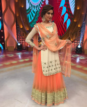 Karishma Tanna wearing an outfit by Abhinav Mishra and jewellery by Shillpa Purii
