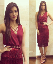 Kriti Sanon in a Stunning Red Dress for a dinner with Suzy Menkes