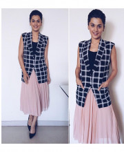 Tapsee Pannu wearing a vest from Harsh Harsh by Harsh Gupta for the promotions of her movie Running Shaadi Dot Com