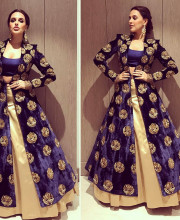 Neha Dhupia wearing an outfit by Manish Malhotra and jewellery by Anmol Jewellers