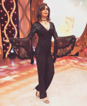 Karishma Tanna in a black coloured outfit by Namrata Joshipura and jewellery from Minerali