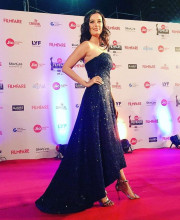 Evelyn Sharma in an outfit by Sharnita Nandwana and jewellery from Gehna Jewellers for the Jio Filmfare awards