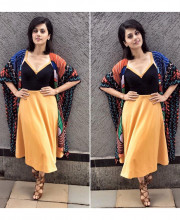 Tapsee Pannu in a dress by Urvashi Joneja while shooting a special for her movie Ghazi