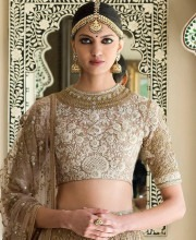 Embroidered Beige Sabyasachi Lehenga from the Udaipur Collection