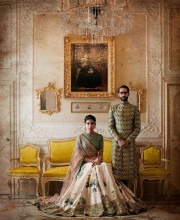 Taken from Sabyasachi's Palermo Afternoons campaign, this beautiful picture shows off a Traditional Indian Lehenga and a Sherwani.