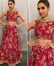 Deepika Padukone Shines In Pink Sabyasachi Lehenga