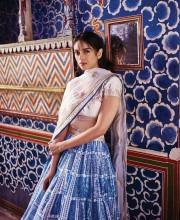 Aditi Rao Hydari Poses in the Blue Aafreen Lehenga