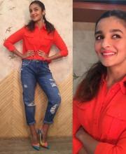 Alia Bhatt Looking Stylish in an Orange Shirt