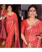 Kajol Mukherjee Dons Red Plaid Saree by Anavilla Misra