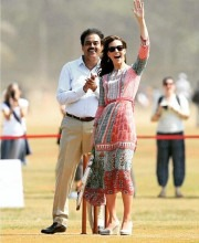 Kate Middleton in the Gulrukh Tunic Dress Playing Cricket