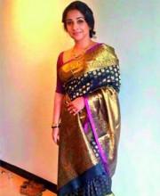 Bollywood Celeb Vidya Balan in a Golden Saree by Indian Designer Gaurang Shah