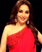Madhuri Dixit in red Indian designer saree on Jhalak Dikhhla Jaa 7